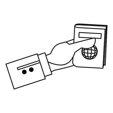 hand with passport document vector illustration design Archivio Fotografico - 106518187