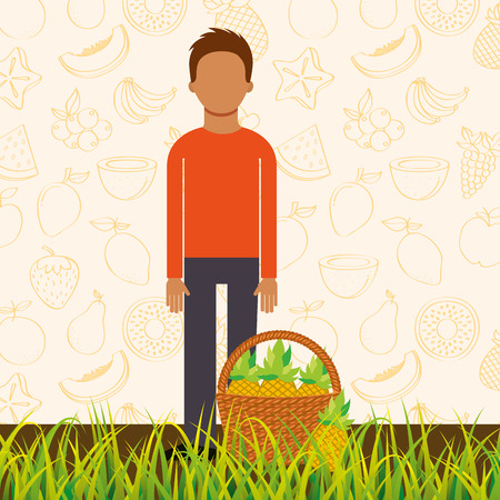 man with basket full pineapple in the grass vector illustration