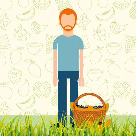 man with basket full papaya in the grass vector illustration