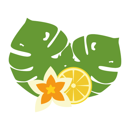 exotic and tropical flower with lemon vector illustration design