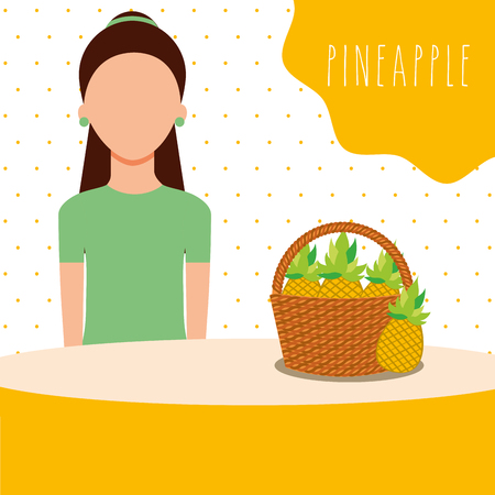 woman with wicker basket filled fruit pineapple vector illustration