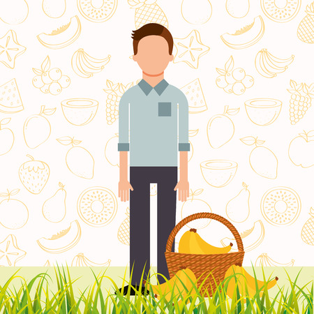 man with basket full banana in the grass vector illustration  イラスト・ベクター素材