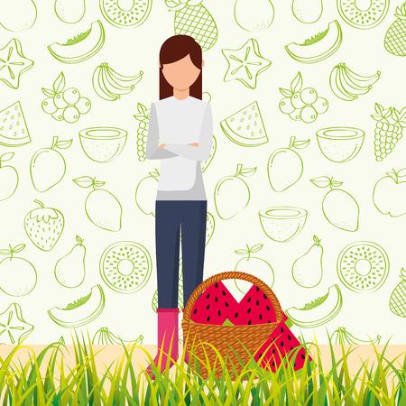 Frau mit Korb voller Wassermelone in der Grasvektorillustration