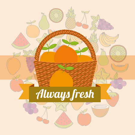 label wicker basket with always fresh orange vector illustration
