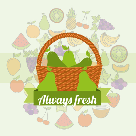 label wicker basket with always fresh pear vector illustration