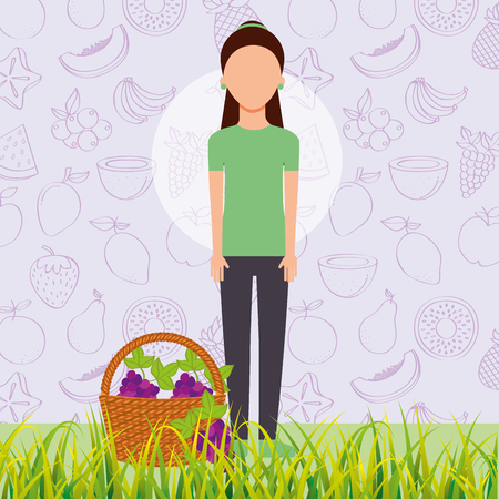 woman with basket full grapes in the grass vector illustration Banque d'images - 111986902