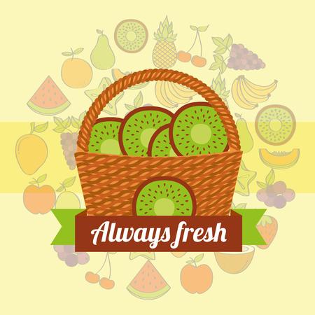 label wicker basket with always fresh kiwi vector illustration Illustration