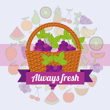 label wicker basket with always fresh grapes vector illustration