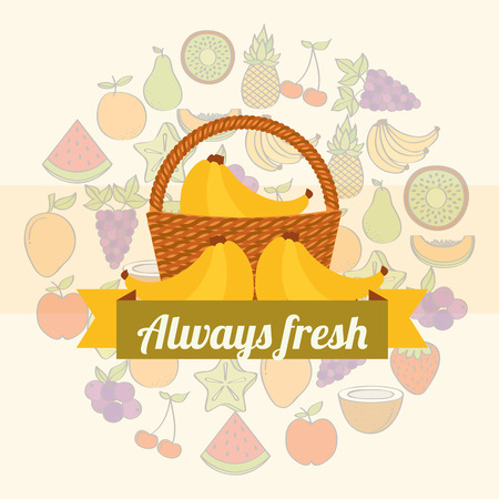 label wicker basket with always fresh banana vector illustration