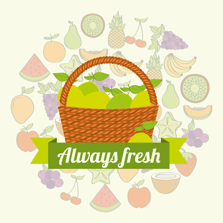 label wicker basket with always fresh lemon vector illustration
