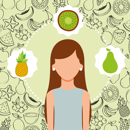 woman portrait with organic fresh fruits vector illustration