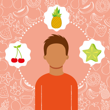 man portrait with organic fresh fruits vector illustration Иллюстрация
