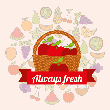 label wicker basket with always fresh apples vector illustration