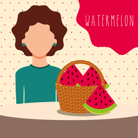 woman with wicker basket filled fruit watermelon vector illustration