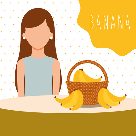 woman with wicker basket filled fruit banana vector illustration 向量圖像