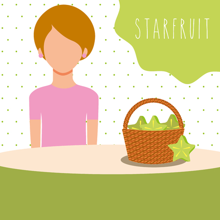 woman with wicker basket filled fruit carambola vector illustration