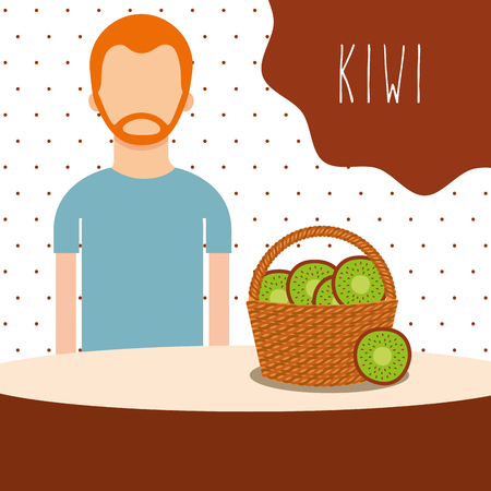 man with wicker basket filled fruit kiwi vector illustration