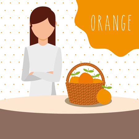 woman with wicker basket filled fruit orange vector illustration Ilustracja