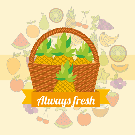 label wicker basket with always fresh pineapple vector illustration Illustration