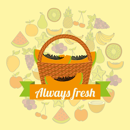 label wicker basket with always fresh papaya vector illustration Illustration