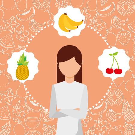 woman portrait with organic fresh fruits vector illustration