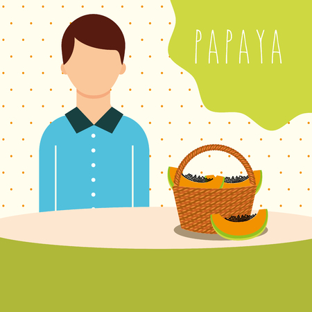 man with wicker basket filled fruit papaya vector illustration