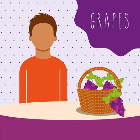 man with wicker basket filled fruit grapes vector illustration