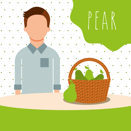 man with wicker basket filled fruit pear vector illustration Çizim