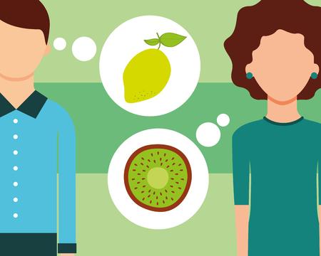 man and woman talking of fruits fresh lemon kiwi vector illustration