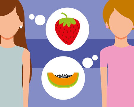 two woman talking of fruits fresh strawberry papaya vector illustration