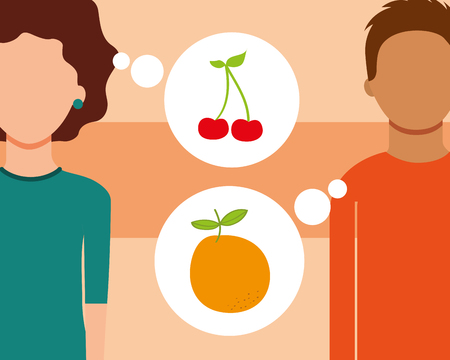 man and woman talking of fruits fresh cherry orange vector illustration