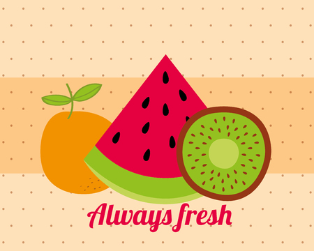 always fresh nature nutrition fruits watermelon kiwi and orange vector illustration Foto de archivo - 106518241