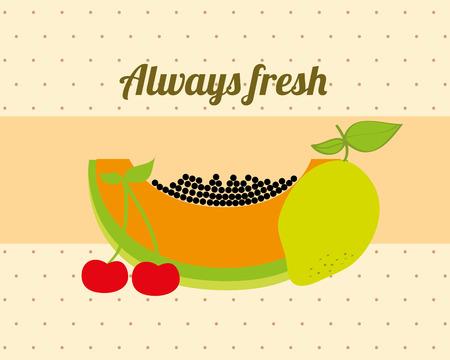 always fresh nature nutrition fruits papaya lemon and cherry vector illustration
