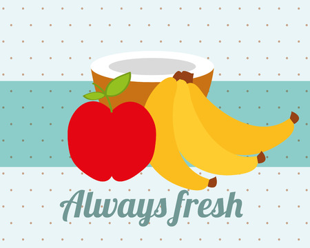 always fresh nature nutrition fruits apple banana and coconut vector illustration