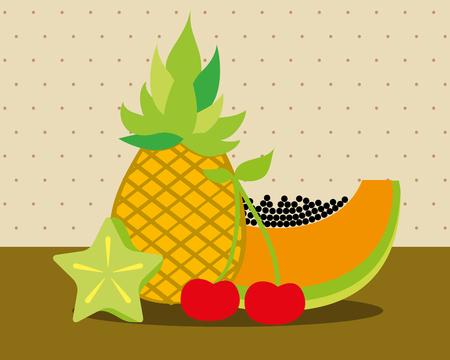 always fresh nature nutrition fruits pineapple papaya cherry carambola vector illustration