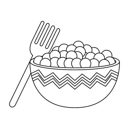 kitchen bowl with beans vector illustration design Standard-Bild - 111986950