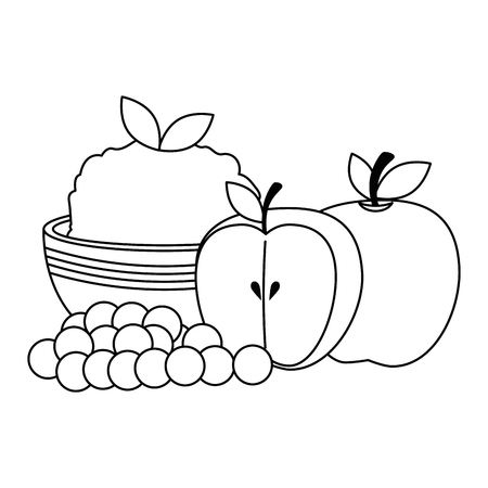 kitchen bowl with mashed potatoes with apples vector illustration design