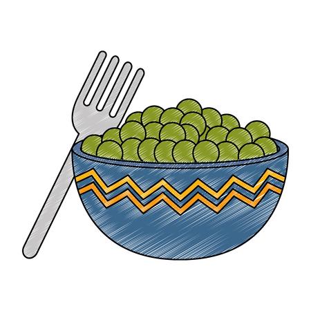 kitchen bowl with beans vector illustration design Standard-Bild - 111986969