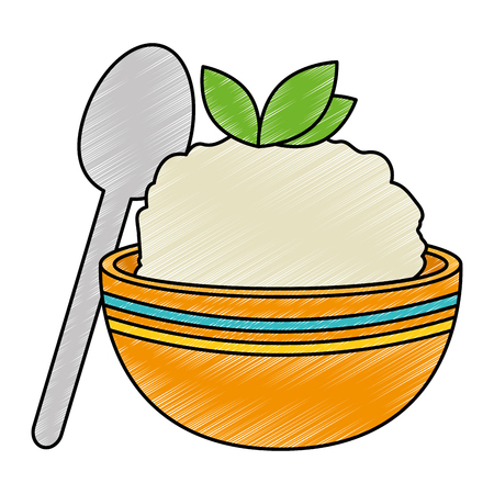 kitchen bowl with mashed potatoes and spoon vector illustration design  イラスト・ベクター素材