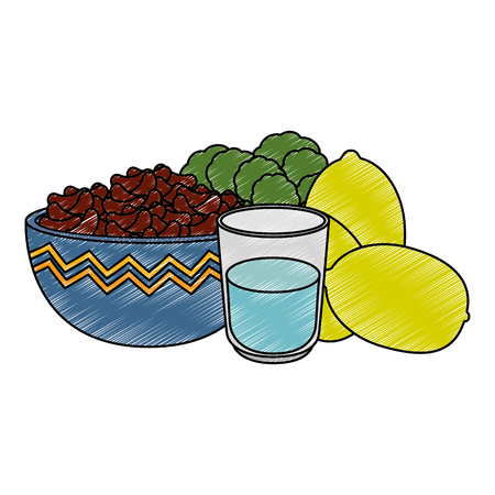 kitchen bowl with beans and lemons vector illustration design