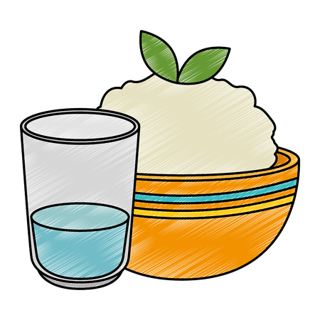 kitchen bowl with mashed potatoes and water glass vector illustration design Standard-Bild - 106478297