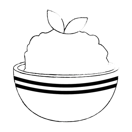 kitchen bowl with mashed potatoes vector illustration design