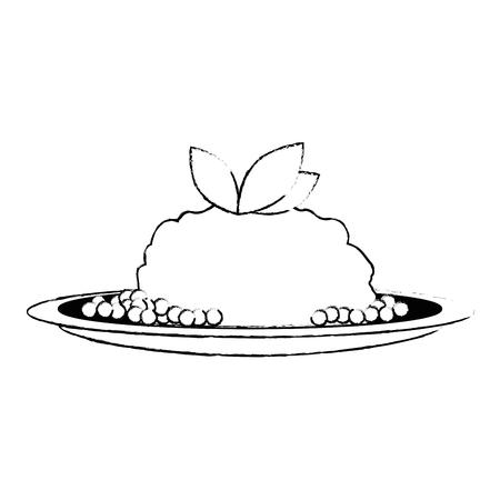 dish with mashed potatoes vector illustration design Çizim