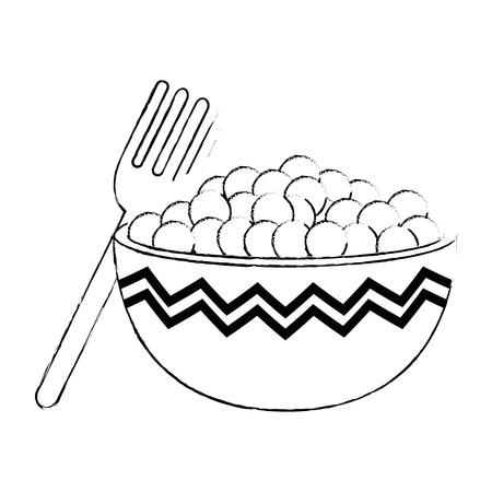 kitchen bowl with beans vector illustration design