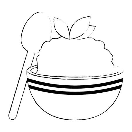kitchen bowl with mashed potatoes and spoon vector illustration design