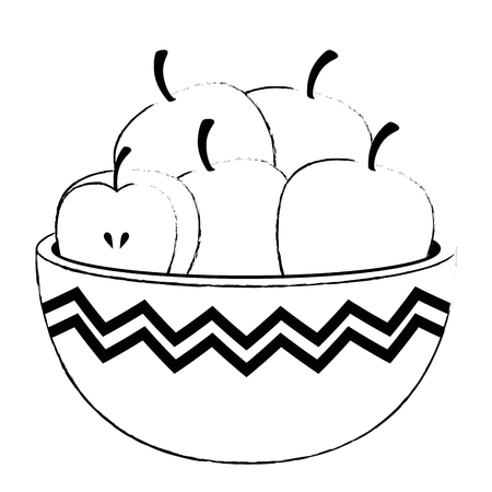 kitchen bowl with apples vector illustration design Vectores