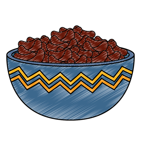 kitchen bowl with beans black vector illustration design