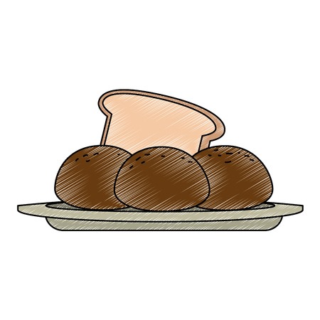 fresh bread with potatoes vector illustration design Illustration