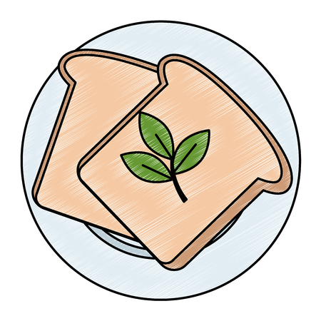 fresh bread toast and leafs vector illustration design Çizim