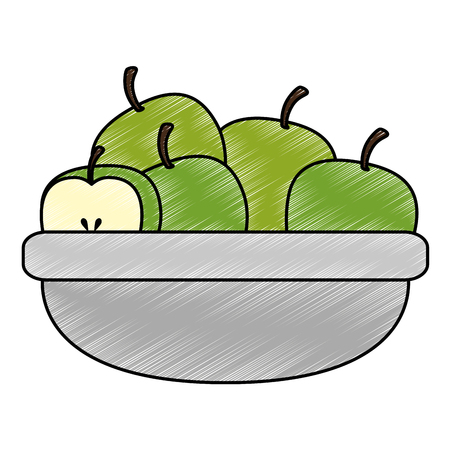 kitchen bowl with apples vector illustration design Ilustracja